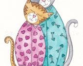 Cute Cat Art  Print  - You re The Cats Pyjamas