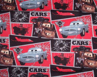 SALE - Cars 2 Mater Mission Block - Disney Fabric