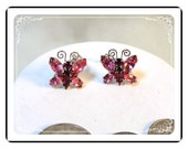 Vintage Juliana Earrings - Pink Rhinestone Butterflys Clipback D&E    DE054a-080712000