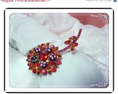 Reserved for Becky...Juliana Flower Brooch Accented with Delicious Colorful Sugar Beads  Pin-750a-011609045