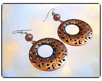 Copper Pierced Earrings -  Superb Vintage Lg Scrolled -   E805a-083114008