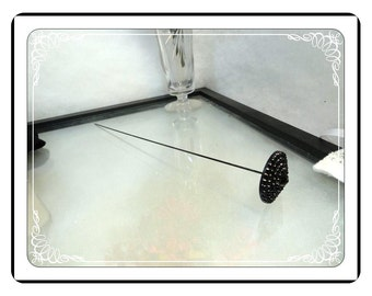 Art Deco Hatpin -  Black Glass Diamond Cut, Extra Long  - Hatpin-006a-051413000