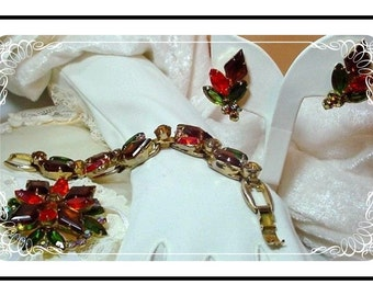 Colorful Juliana Parure - Provocative - Red Green Amber - Set by  D&E   Para-019a-071207090