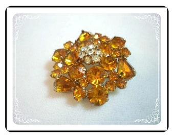 Amber Gold Rhinestone Vintage Brooch w Flower on Top   Pin-1283a-012312000