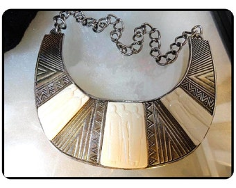 "RARE  L-Burch Necklace -  Vintage1985 Laurel Burch Necklace - Faux ""Ivory"" Big Bib style - Ebony and Ivory Collection   Neck-1511a-111713008"