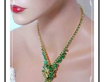 Juliana Necklace Set  - Fantastic Green Rhinestone Venus Flame D&E  Demi-979a-040211065