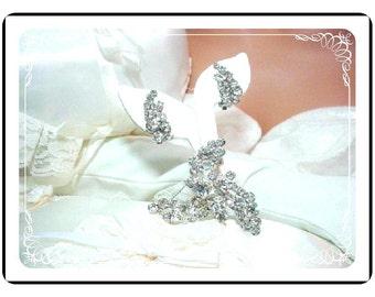 Juliana BLAZING Demi -  Brooch & Earrings Set - HOT  D and E Juliana Clear  Rhinestone Demi  606a-110607060