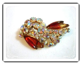 Continental Rhinestone Brooch - Rhinestones and Red Molded Glass Signed Continental   Pin-1237a-012312000