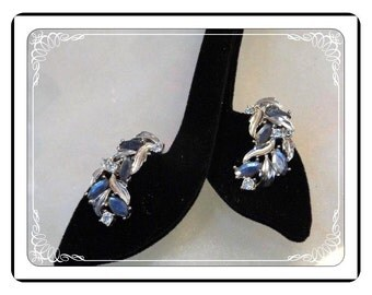Sarah Coventry Earrings -  Blue Rhinestone Abstract Earrings Signed   E536a-090913000
