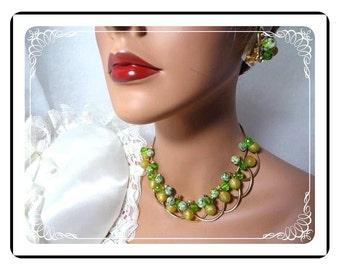 Rare Juliana  Demi -  Unique Vintage Variegated Set - Dancing Baubles - D&E Necklace and Earrings    Demi-460a-071811076