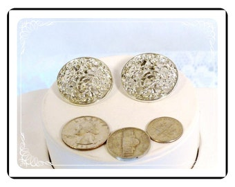 Button Style Earrings - Big Silver Filigree Button Style Clip on Vintage Earrings   E639a-082012000