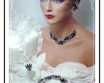 Breathtaking  D&E/ Juliana Parure  -  Bold and Bright Black Vintage Rhinestone Necklace, Earrings Bracelet Set Para-632a-061807125