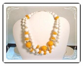 Triple Strand Necklace - Fun Retro White and Yellow Triple Strand Lucite Beads    Neck-1542a-082912005
