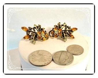 Signed Coro  Earrings - Vintage Amber Rhinestone Flower Clip-on Earrings   E577a-083012000