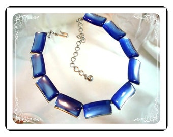Moonglow Mad Men Necklace -  Luscious Blue Signed Charel   Neck-1309a-012312000