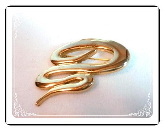 1970's Abstract Brooch - Vintage Gold Tone Signed M. Jent 1160a-012312000