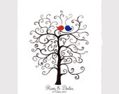 Custom Wedding Guest Book Tree with Love Birds - Printable High Resolution File - Fingerprint Signature Tree - Custom color, size, text