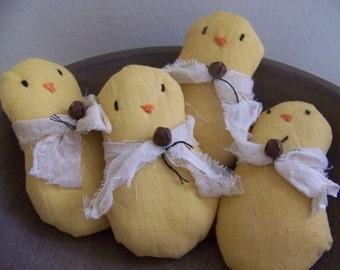 Set Of 4 Primitive Spring Chicks Bowl Fillers/Tucks