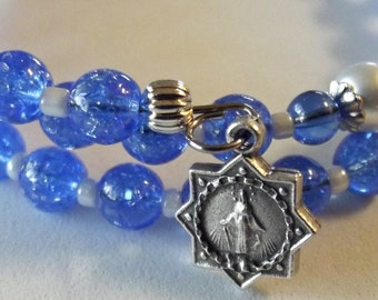 Blue and White Pearl Rosary Wrap Bracelet