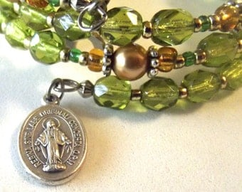 Olive-Green and Gold Rosary Bracelet
