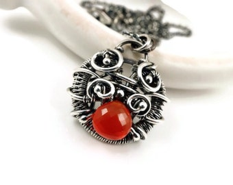Carnelian pendant - Wire wrapped orange carnelian pendant