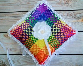 Rainbow ring pillow: white, red, orange, yellow, green, blue, purple satin ribbons, colorful wedding pillow, multicolored, made to order