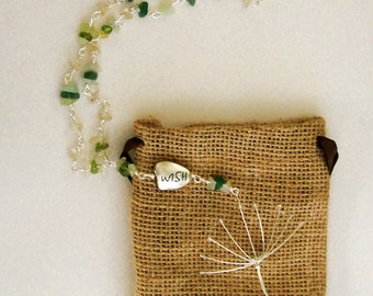 Dandelion Wish Necklace, with Green Aventurine, Peridot,  Rutilated Quartz and New Jade Beads.