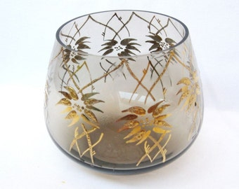 Vintage Bohemian glass bowl  Smoke hand painted candy dish Gold 24k Made in Czechoslovakia