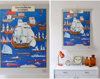 Vintage German educational poster pull down chart school map shipping ships