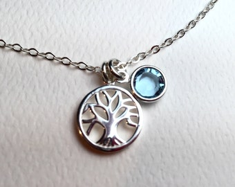 All Sterling Silver Tree Of Life Necklace, Dainty Family Tree Sterling Silver Jewelry