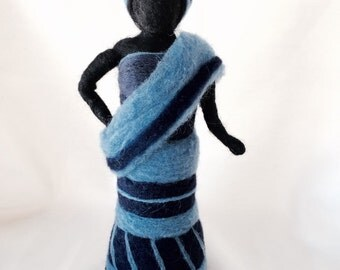 Aminta in Indigo Cloth, needle felted wool, ready to ship