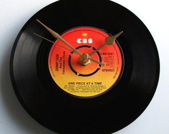 "Johnny Cash Vinyl Record CLOCK ""One Piece at a Time"" 7"" single. Unusual gift for country fans..."
