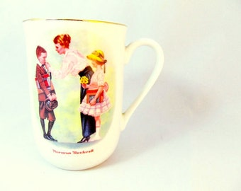 "Vintage Norman Rockwell ""First Day of School Mug"" / 1986 Norman Rockwell Museum Collection Mug"