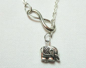 Infinity Elephant Necklace, Good luck Charm  ,Romantic Lucky  Pendant