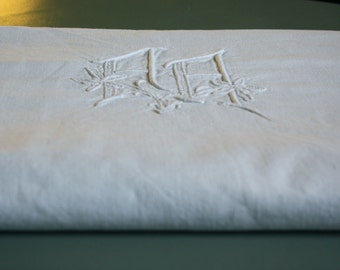 vintage linen sheet, AA monogrammed , french metis linen