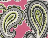 Home Decor Drapery Bedding Upholstery Fabric Majella Marzipan Hot Pink Green Lime Gray Paisley