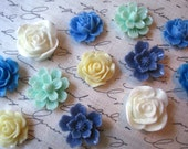 Resin Flowers, Blue, Cream, Mint Green, Cream Cabochon Flowers, 12 pcs, Flat Back Flowers, Resin Rose, Sakura, Perfect for Jewelry Projects