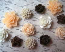 Cabochon Flowers, 12 pcs, Resin Flowers, Peach, White, Tan, Chocolate Brown, Resin Roses, Dahlias, Perfect for DIY Jewelry Projects