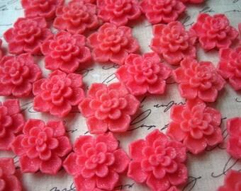 Dark Pink Resin Sakura Cabochons / 10 pcs 20mm Dark Pink Glitter Resin Cabochon Flowers, Perfect for Bobby Pins, Pendants Earrings