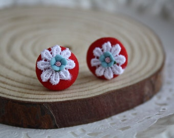 cute flower button earrings studs round blue gold woodland mini flower lace cottage chic jewellery accessory wedding