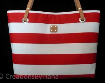 Red - Bag - Stripes - Purse - Canvas - Nautical - Handmade - Handbag - Leather handles - shoulder bag