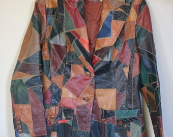 vintage leather patchwork blazer jacket womens size 4 hippie boho