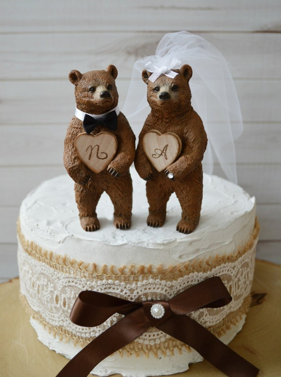 Country Bear Wedding Cake Topper Rustic Brown Custom Initials Bride And Groom Names Hunting Hunter Wood Burnt Grooms
