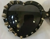 Black Heart Shaped Ultra Spiked Sunglasses
