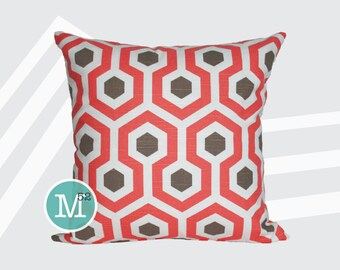 Bittersweet Pink & Brown Magna Honeycomb Pillow Cover Sham - 18 x 18, 20 x 20 and More Sizes - Zipper Closure - sc1820