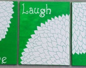 Live Laugh Love Hand-painted Acrylic Painting Set of 3 Various size canvases Abstract Gerbera Daisies