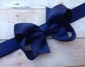 Navy blue headband with 3 inch bow - navy blue baby headband, newborn headband, bow headband, infant headband, navy headband