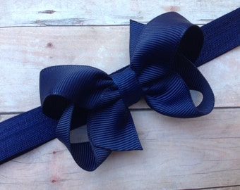 Navy blue baby headband - navy blue bow headband, newborn headband, bow headband, infant headband, navy headband, baby headbands