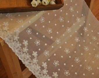 beige embroidery lace fabric trim, cottom embroidery gauze lace trim