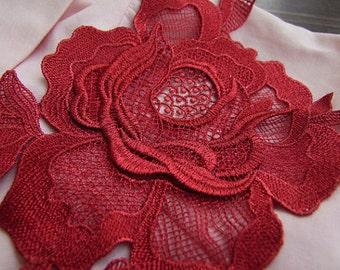 red peony lace applique, 3D lace applique